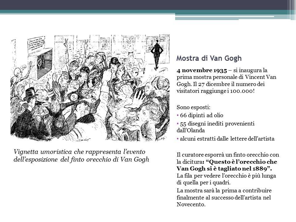 Mostra di Van Gogh 4 novembre 1935 – si inaugura la prima mostra personale di Vincent Van Gogh. Il 27 dicembre il numero dei visitatori raggiunge i 10