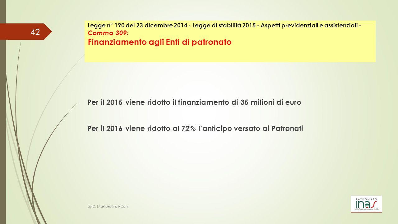 Per il 2015 viene ridotto il finanziamento di 35 milioni di euro Per il 2016 viene ridotto al 72% l'anticipo versato ai Patronati by S. Martorelli & P