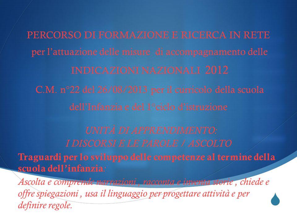  PERCORSO DI FORMAZIONE E RICERCA IN RETE per l'attuazione delle misure di accompagnamento delle INDICAZIONI NAZIONALI 2012 C.M.