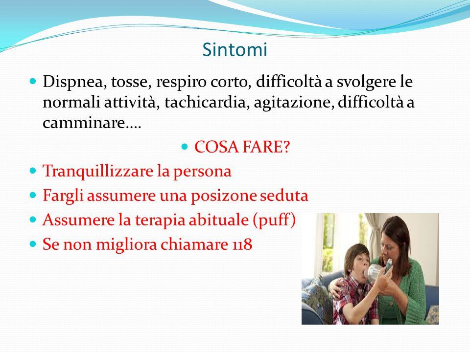 Sintomi Dispnea, tosse, respiro corto, difficoltà a svolgere le normali attività, tachicardia, agitazione, difficoltà a camminare….