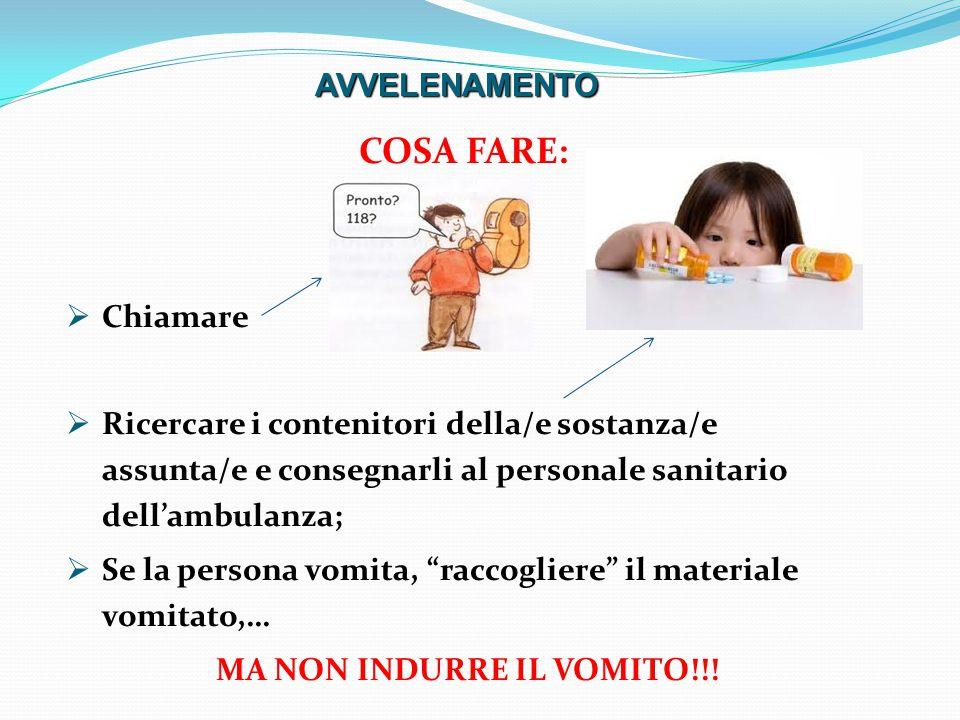 COSA FARE:  Chiamare  Ricercare i contenitori della/e sostanza/e assunta/e e consegnarli al personale sanitario dell'ambulanza;  Se la persona vomita, raccogliere il materiale vomitato,… MA NON INDURRE IL VOMITO!!.