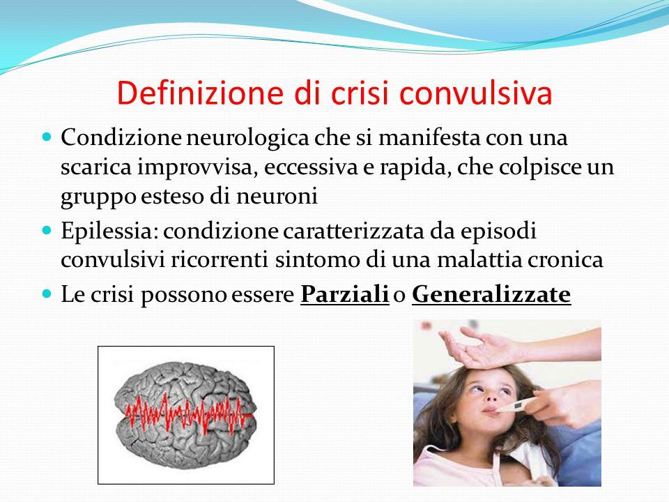Definizione di crisi convulsiva Condizione neurologica che si manifesta con una scarica improvvisa, eccessiva e rapida, che colpisce un gruppo esteso di neuroni Epilessia: condizione caratterizzata da episodi convulsivi ricorrenti sintomo di una malattia cronica Le crisi possono essere Parziali o Generalizzate
