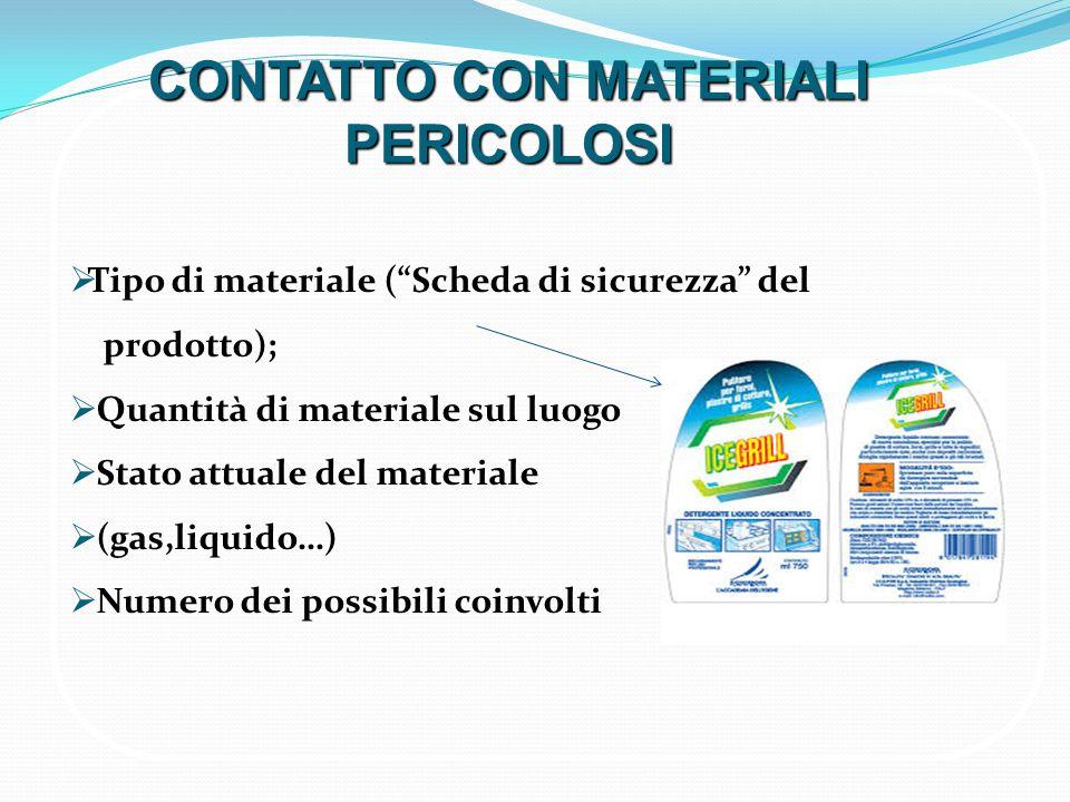  Tipo di materiale ( Scheda di sicurezza del prodotto);  Quantità di materiale sul luogo  Stato attuale del materiale  (gas,liquido…)  Numero dei possibili coinvolti CONTATTO CON MATERIALI PERICOLOSI