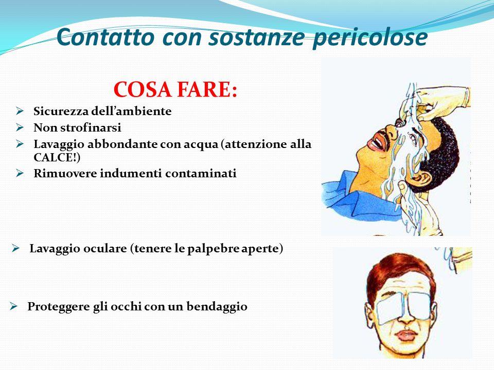 Contatto con sostanze pericolose  Proteggere gli occhi con un bendaggio COSA FARE:  Sicurezza dell'ambiente  Non strofinarsi  Lavaggio abbondante