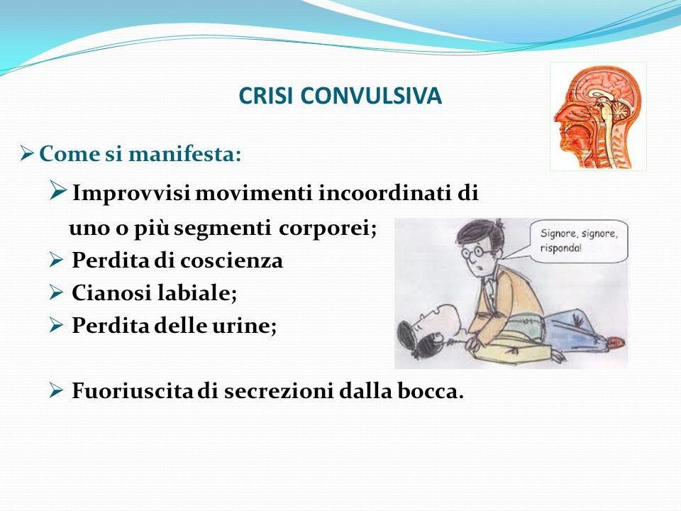 CRISI CONVULSIVA  Come si manifesta:  Improvvisi movimenti incoordinati di uno o più segmenti corporei;  Perdita di coscienza  Cianosi labiale;  Perdita delle urine;  Fuoriuscita di secrezioni dalla bocca.