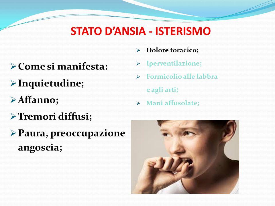 COSA FARE:  Far sedere la persona;  Adottare un comportamento tranquillizzante;  Far compiere respiri lenti e profondi;  Far respirare la persona  in un sacchetto; STATO D'ANSIA - ISTERISMO