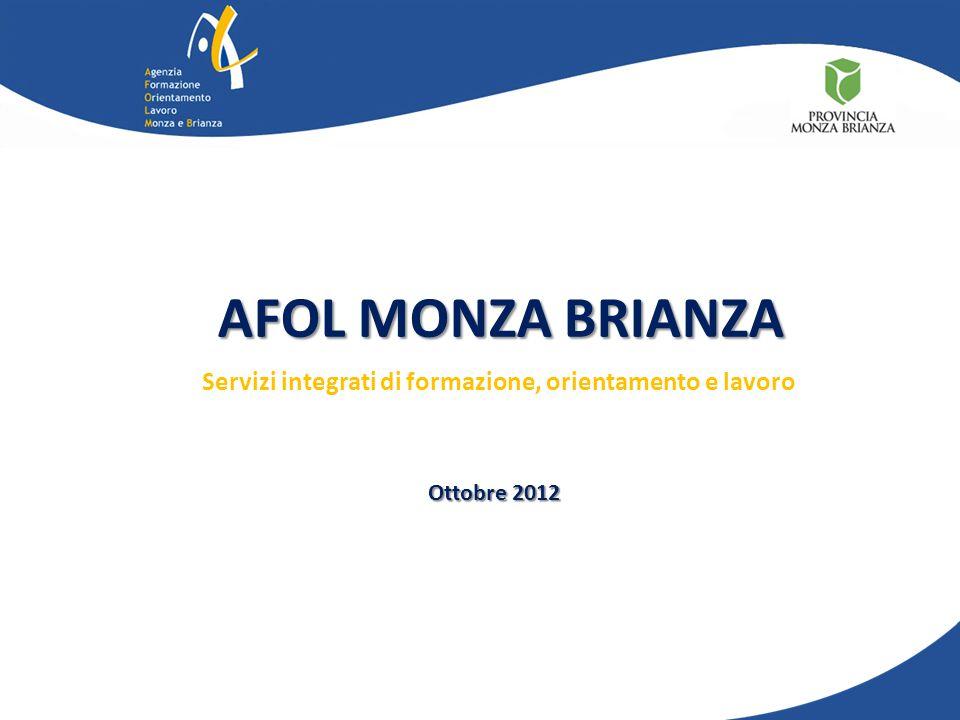 Servizi integrati di formazione, orientamento e lavoro Ottobre 2012 AFOL MONZA BRIANZA