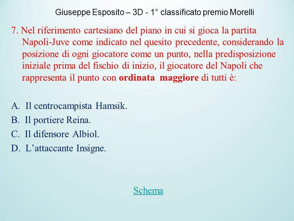 7. Nel riferimento cartesiano del piano in cui si gioca la partita Napoli-Juve come indicato nel quesito precedente, considerando la posizione di ogni