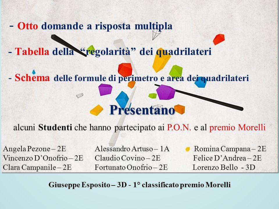 - Otto domande a risposta multipla alcuni Studenti che hanno partecipato ai P.O.N. e al premio Morelli Angela Pezone – 2E Alessandro Artuso – 1A Romin