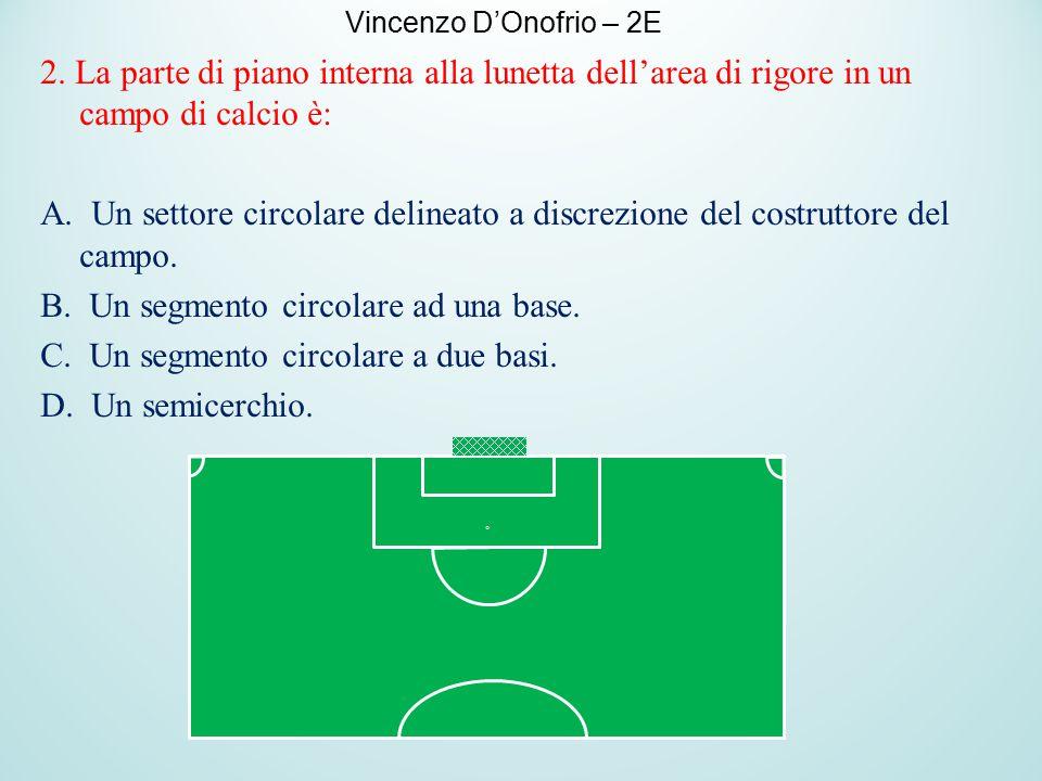 2. La parte di piano interna alla lunetta dell'area di rigore in un campo di calcio è: A. Un settore circolare delineato a discrezione del costruttore