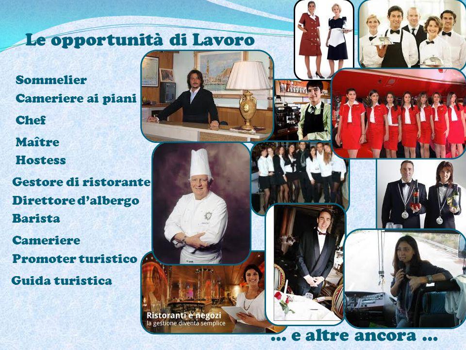 Le opportunità di Lavoro … e altre ancora … Sommelier Cameriere ai piani Chef Maître Hostess Gestore di ristorante Direttore d'albergo Barista Cameriere Promoter turistico Guida turistica