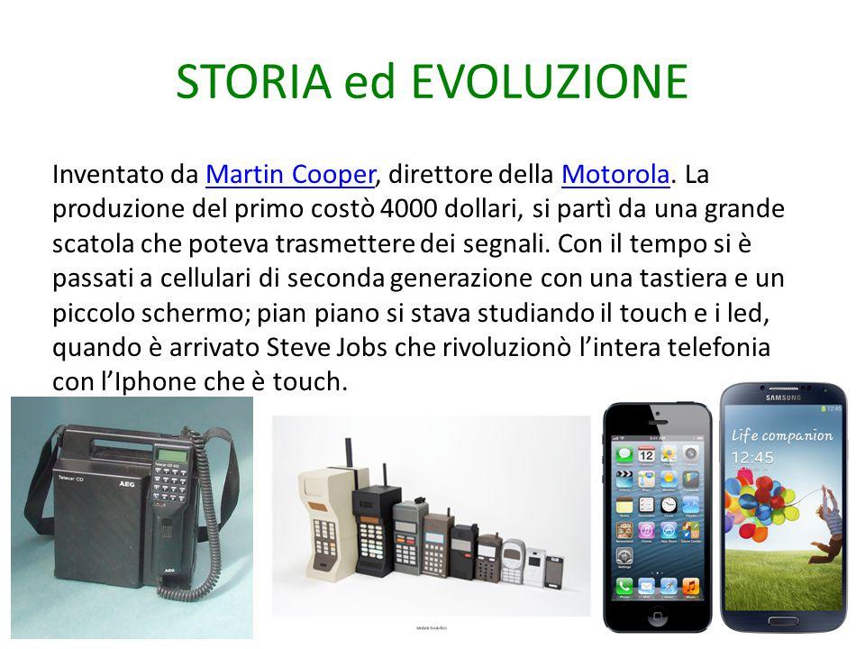 STORIA ed EVOLUZIONE Inventato da Martin Cooper, direttore della Motorola. La produzione del primo costò 4000 dollari, si partì da una grande scatola