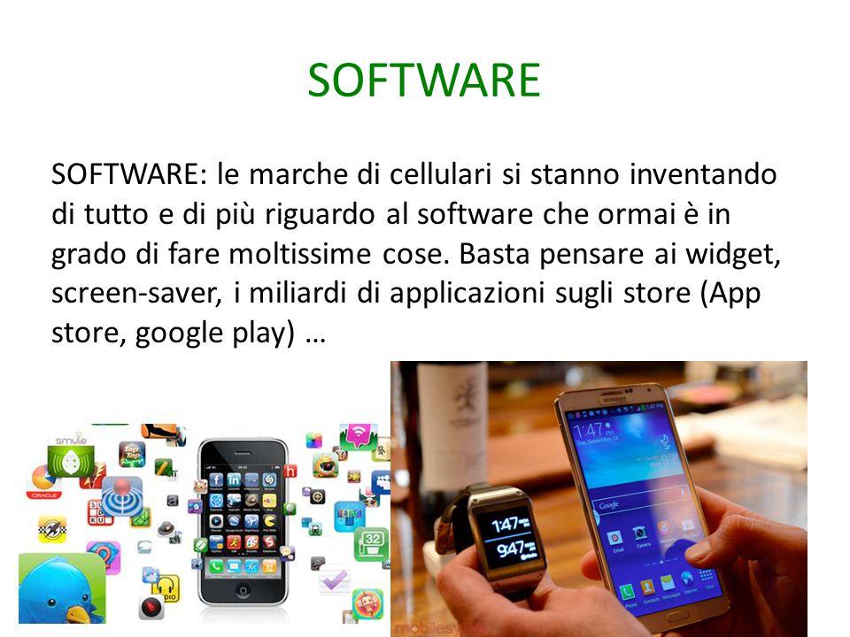 SOFTWARE SOFTWARE: le marche di cellulari si stanno inventando di tutto e di più riguardo al software che ormai è in grado di fare moltissime cose. Ba