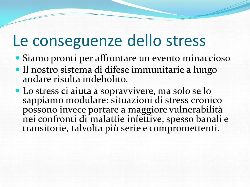 Le conseguenze dello stress Siamo pronti per affrontare un evento minaccioso Il nostro sistema di difese immunitarie a lungo andare risulta indebolito.
