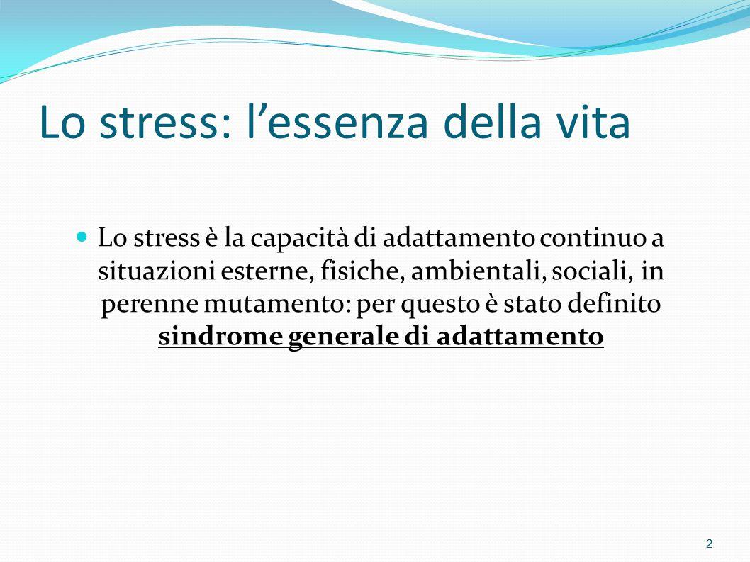 STRESS E STILE DI VITA  La sindrome generale d'adattamento è una reazione aspecifica dell'organismo a ogni richiesta operata su di esso.