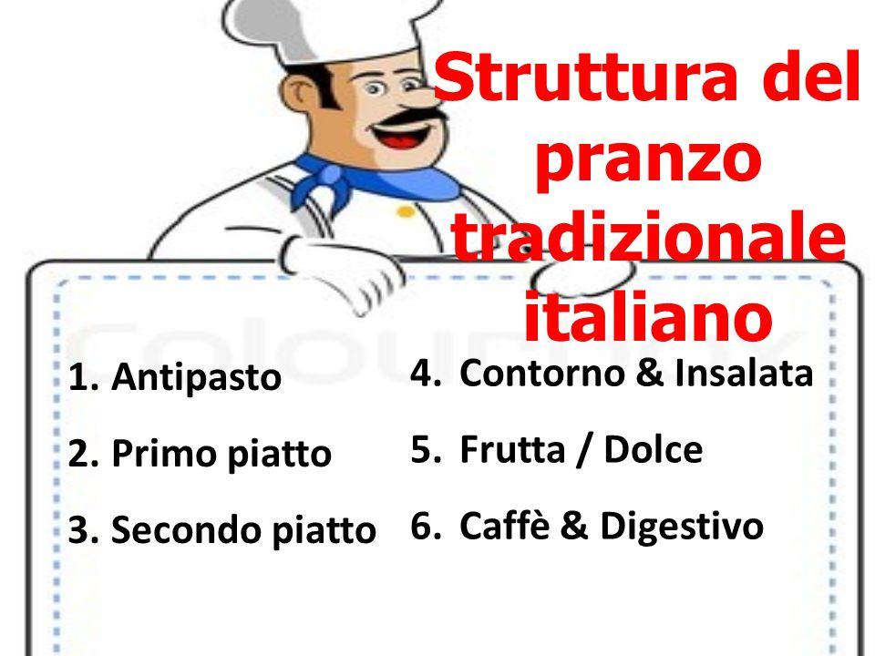 Struttura del pranzo tradizionale italiano 1.Antipasto 2.Primo piatto 3.Secondo piatto 4.Contorno & Insalata 5.Frutta / Dolce 6.Caffè & Digestivo