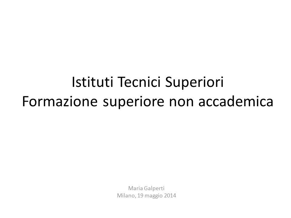 Istituti Tecnici Superiori Formazione superiore non accademica Maria Galperti Milano, 19 maggio 2014