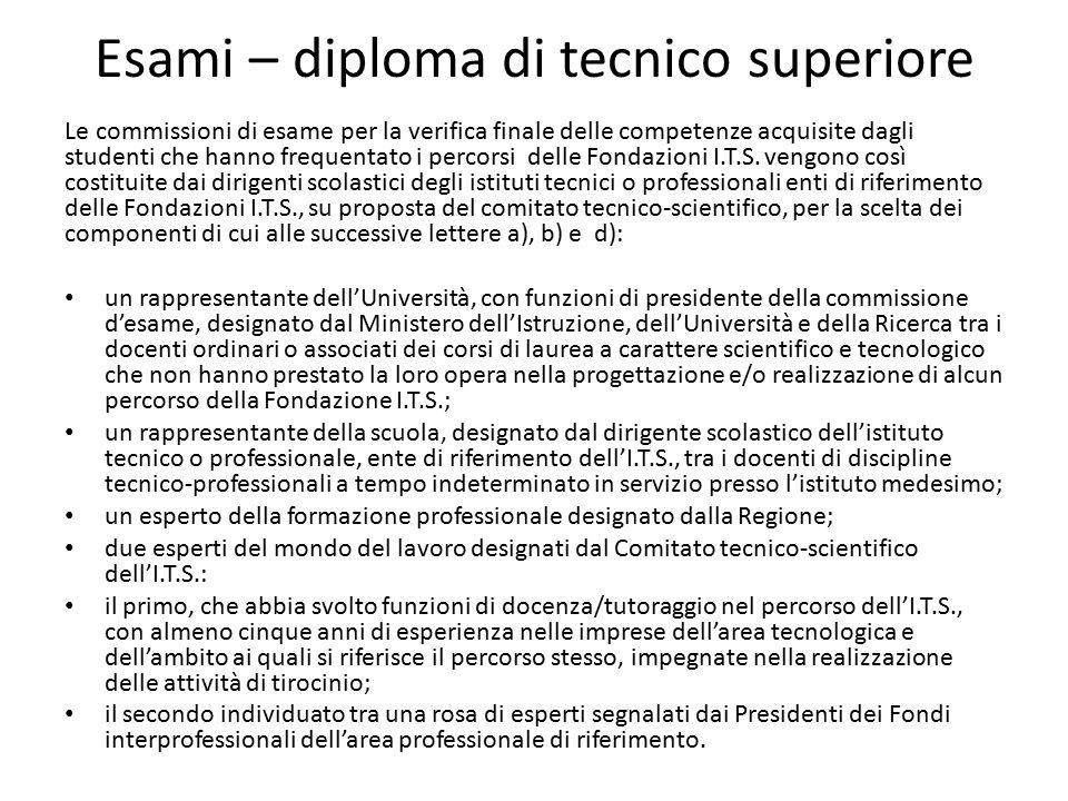 Esami – diploma di tecnico superiore Le commissioni di esame per la verifica finale delle competenze acquisite dagli studenti che hanno frequentato i
