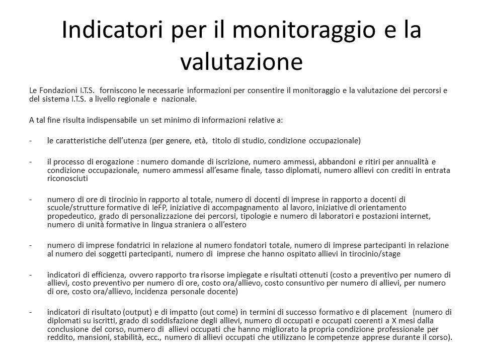 Indicatori per il monitoraggio e la valutazione Le Fondazioni I.T.S. forniscono le necessarie informazioni per consentire il monitoraggio e la valutaz