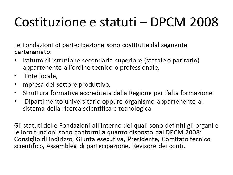 Costituzione e statuti – DPCM 2008 Le Fondazioni di partecipazione sono costituite dal seguente partenariato: Istituto di istruzione secondaria superi