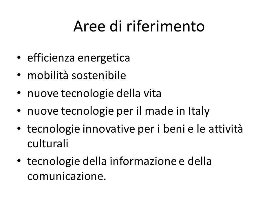 Aree di riferimento efficienza energetica mobilità sostenibile nuove tecnologie della vita nuove tecnologie per il made in Italy tecnologie innovative