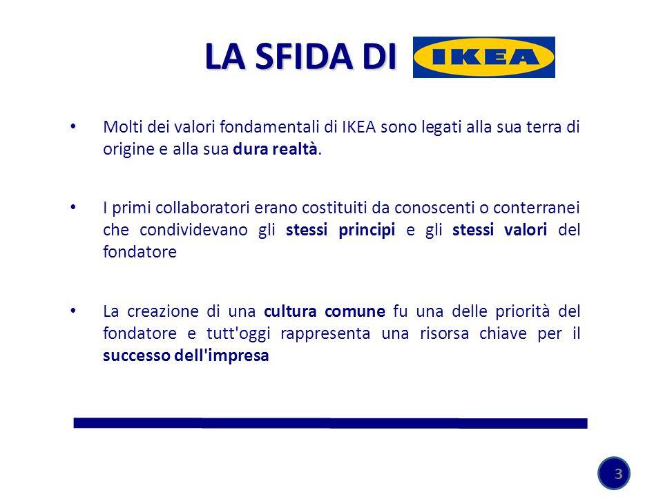 3 Molti dei valori fondamentali di IKEA sono legati alla sua terra di origine e alla sua dura realtà. I primi collaboratori erano costituiti da conosc