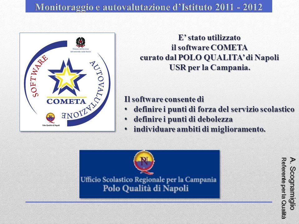 A. Scognamiglio Referente per la Qualità E' stato utilizzato il software COMETA curato dal POLO QUALITA' di Napoli USR per la Campania. Il software co