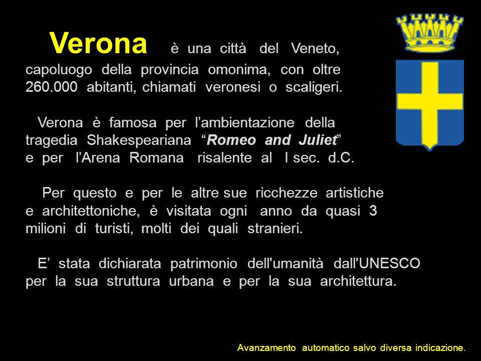 Verona è una città del Veneto, capoluogo della provincia omonima, con oltre 260.000 abitanti, chiamati veronesi o scaligeri.