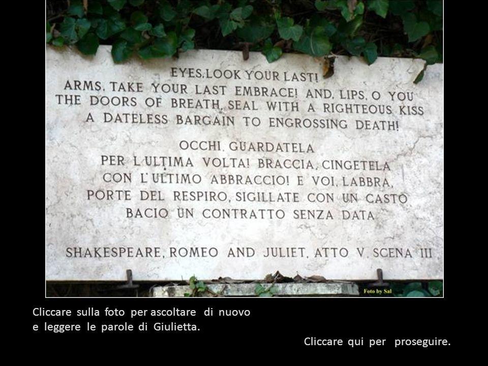 Dalla scena della cripta : ( Giulietta si risveglia dalla finta morte) Caro frate Lorenzo, dov'è il mio signore ? Io dovevo svegliarmi qui, è vero, e
