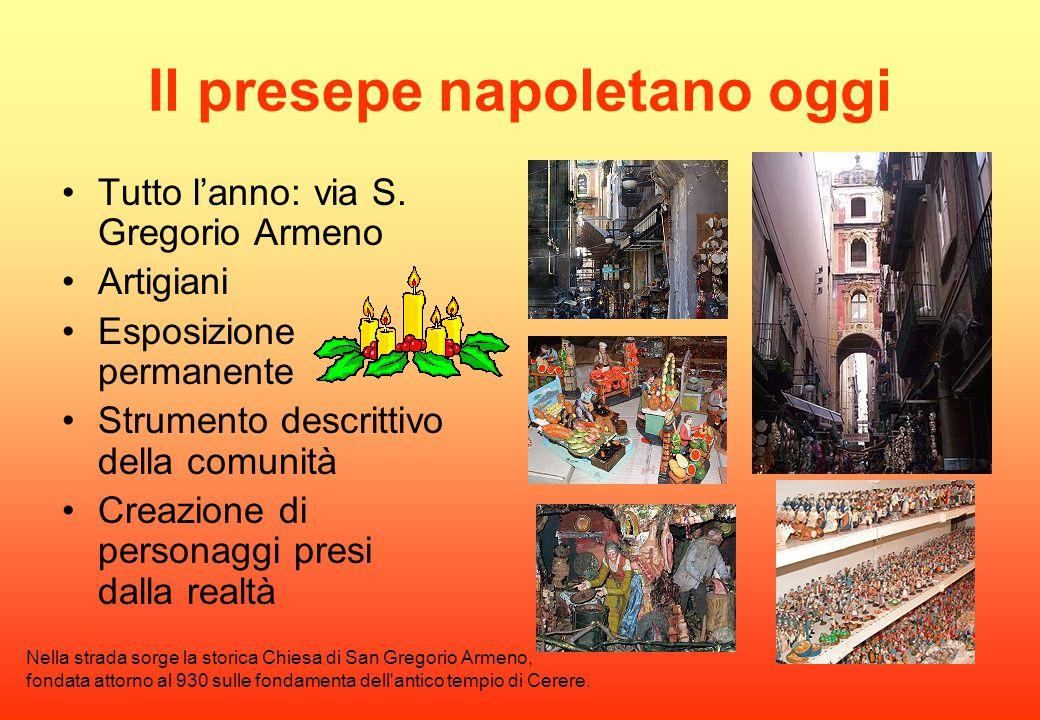 Il presepe napoletano oggi Tutto l'anno: via S. Gregorio Armeno Artigiani Esposizione permanente Strumento descrittivo della comunità Creazione di per