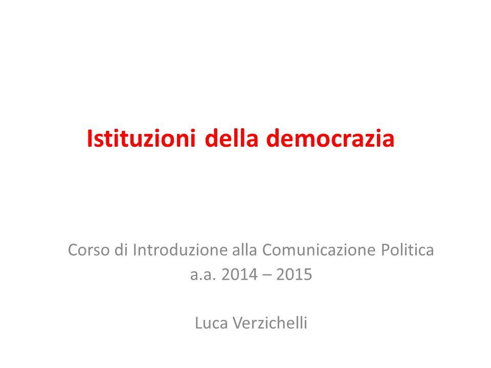 Istituzioni della democrazia Corso di Introduzione alla Comunicazione Politica a.a.
