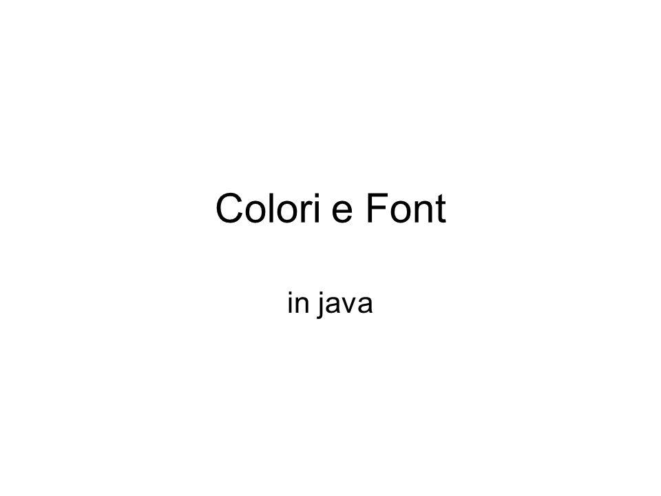 classe java.awt.Color ha diversi costruttori: Color( int red, int green, int blue) per definire un colore partendo dalle sue tre componenti.