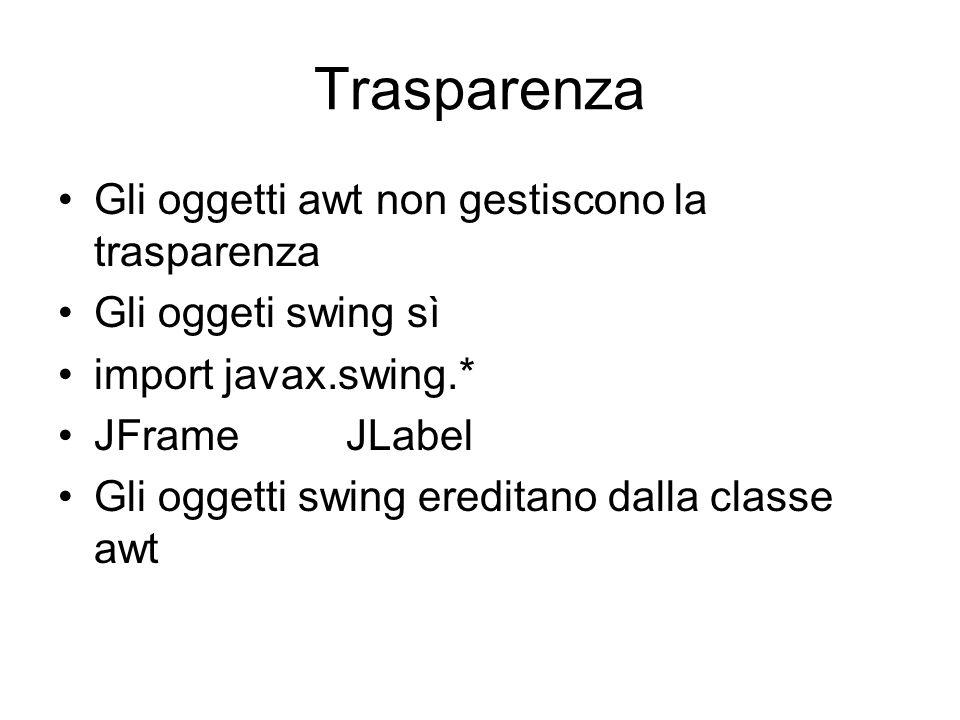 Trasparenza Gli oggetti awt non gestiscono la trasparenza Gli oggeti swing sì import javax.swing.* JFrame JLabel Gli oggetti swing ereditano dalla cla