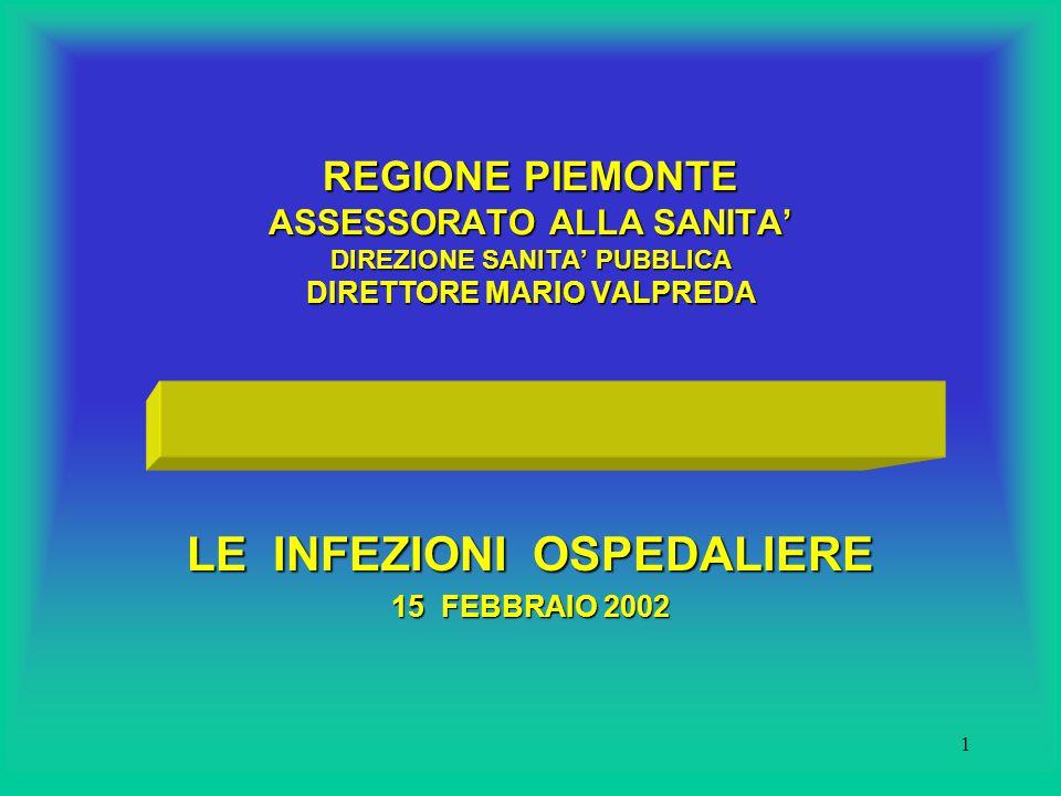 1 REGIONE PIEMONTE ASSESSORATO ALLA SANITA' DIREZIONE SANITA' PUBBLICA DIRETTORE MARIO VALPREDA LE INFEZIONI OSPEDALIERE 15 FEBBRAIO 2002