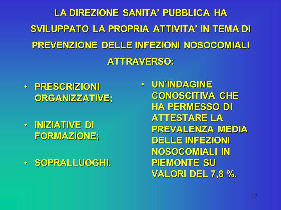 16 PER QUANTO CONCERNE L'ASPETTO DEL RISCHIO PROFESSIONALE SI RILEVA UNO SCARSO UTILIZZO ALL'INTERNO DELLE AZIENDE DEI DATI FORNITI DALLA DIREZIONE SANITA' PUBBLICA NELL'AMBITO DEL PROGETTO SIOP, COSI' COME ANDREBBERO DEFINITI PROTOCOLLI UNIFORMI DI GESTIONE DEGLI INCIDENTI.