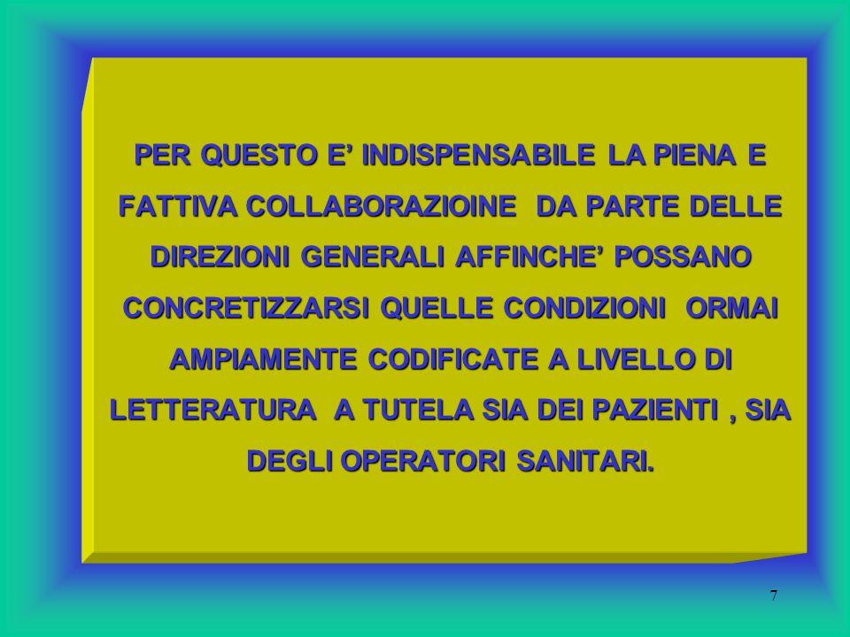 6 NONOSTANTE L'IMPEGNO MESSO IN ATTO DALLA DIREZIONE REGIONALE SANITA' PUBBLICA A PARTIRE DAL 1997, PERMANGONO A TUTT' OGGI DISCRETE CRITICITA' PER QUANTO CONCERNE LA LOTTA ALLE INFEZIONI OSPEDALIERE.