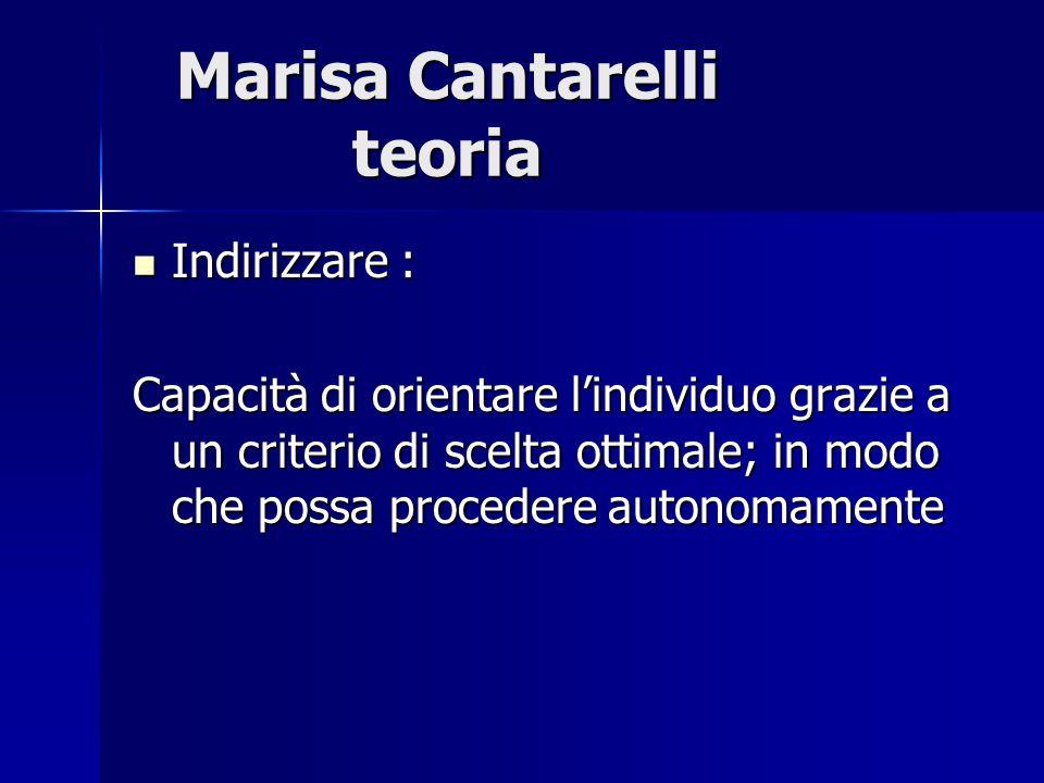 Marisa Cantarelli teoria Indirizzare : Indirizzare : Capacità di orientare l'individuo grazie a un criterio di scelta ottimale; in modo che possa proc