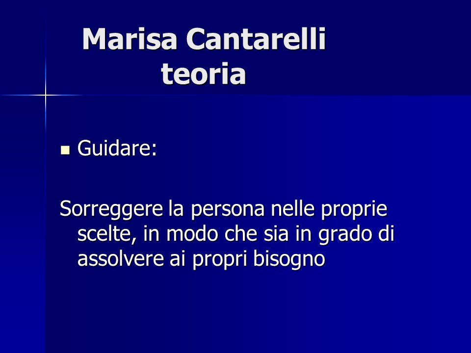 Marisa Cantarelli teoria Guidare: Guidare: Sorreggere la persona nelle proprie scelte, in modo che sia in grado di assolvere ai propri bisogno