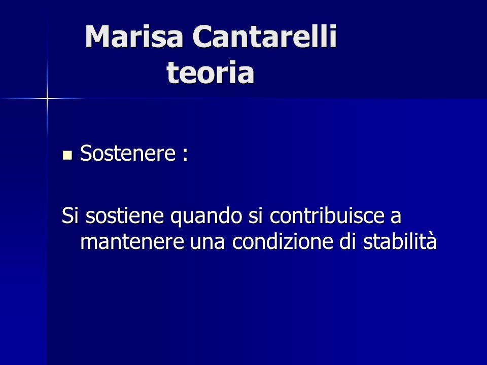 Marisa Cantarelli teoria Sostenere : Sostenere : Si sostiene quando si contribuisce a mantenere una condizione di stabilità