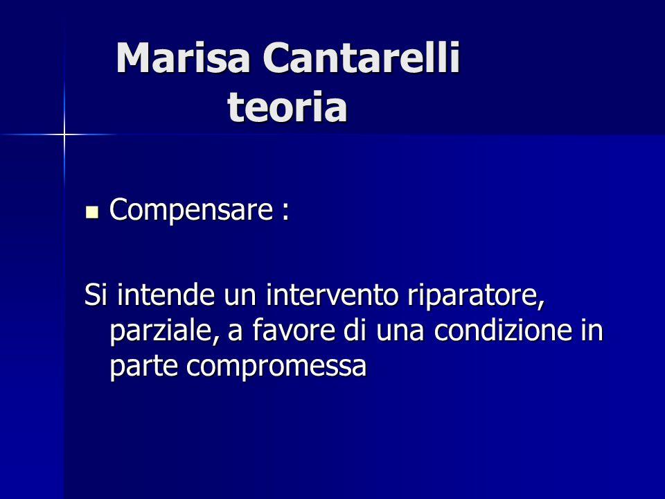 Marisa Cantarelli teoria Compensare : Compensare : Si intende un intervento riparatore, parziale, a favore di una condizione in parte compromessa