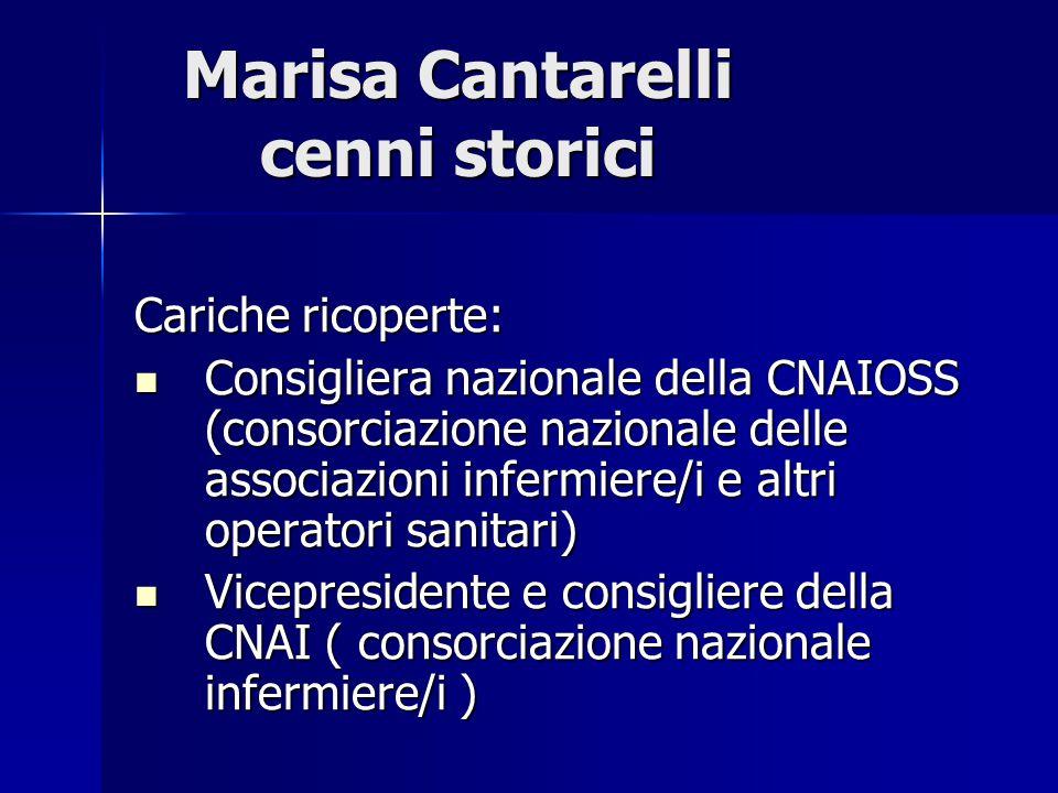 Marisa Cantarelli cenni storici Cariche ricoperte: Consigliera nazionale della CNAIOSS (consorciazione nazionale delle associazioni infermiere/i e alt