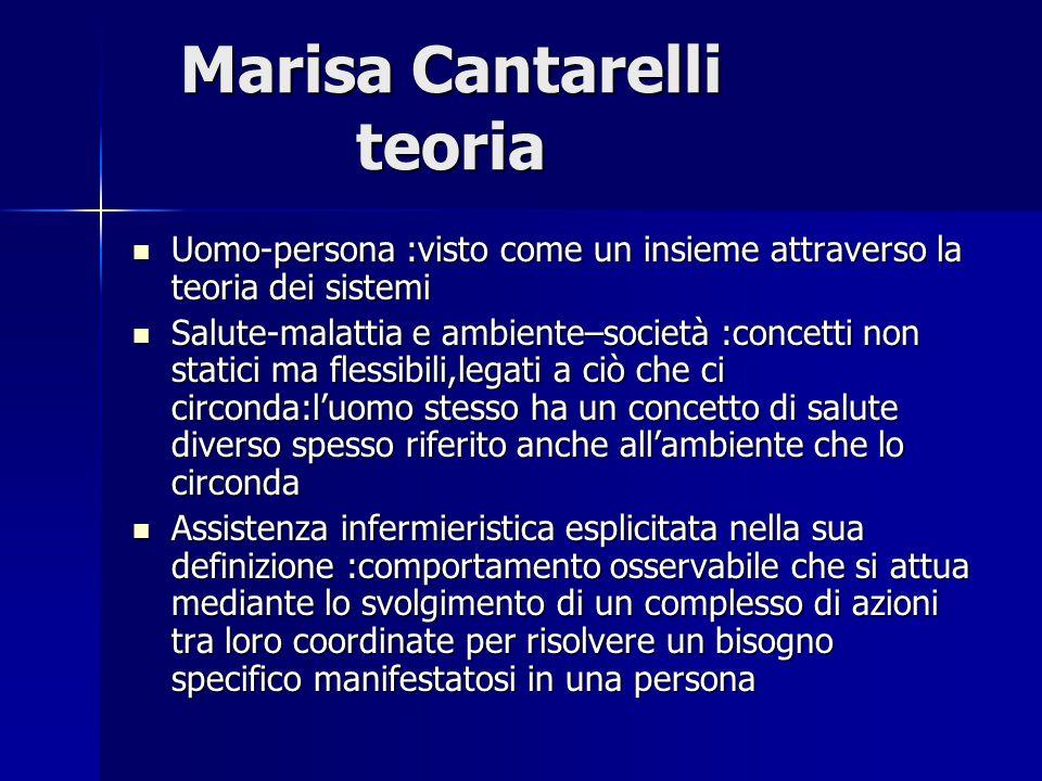 Marisa Cantarelli teoria Le azioni di assistenza infermieristica sono definite prestazioni cioè i risultati conseguiti mediante lo svolgimento di un complesso di azioni fra loro coordinate,per risolvere un bisogno specifico manifestatosi in un cittadino/malato Tre elementi principali : 1.