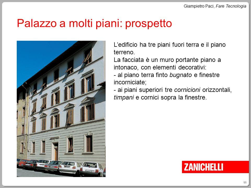 11 Giampietro Paci, Fare Tecnologia Palazzo a molti piani: prospetto L'edificio ha tre piani fuori terra e il piano terreno. La facciata è un muro por