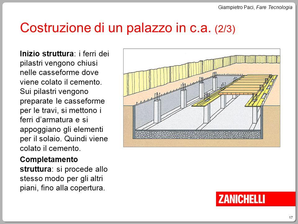 17 Giampietro Paci, Fare Tecnologia Costruzione di un palazzo in c.a. (2/3) Inizio struttura: i ferri dei pilastri vengono chiusi nelle casseforme dov