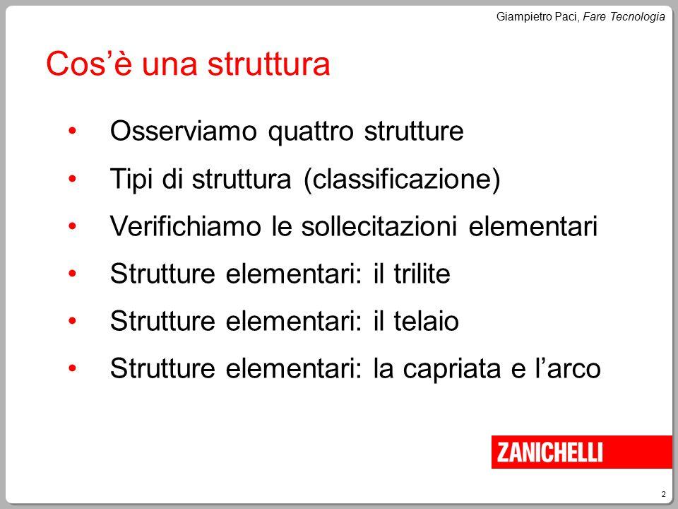 2 Giampietro Paci, Fare Tecnologia Cos'è una struttura Osserviamo quattro strutture Tipi di struttura (classificazione) Verifichiamo le sollecitazioni