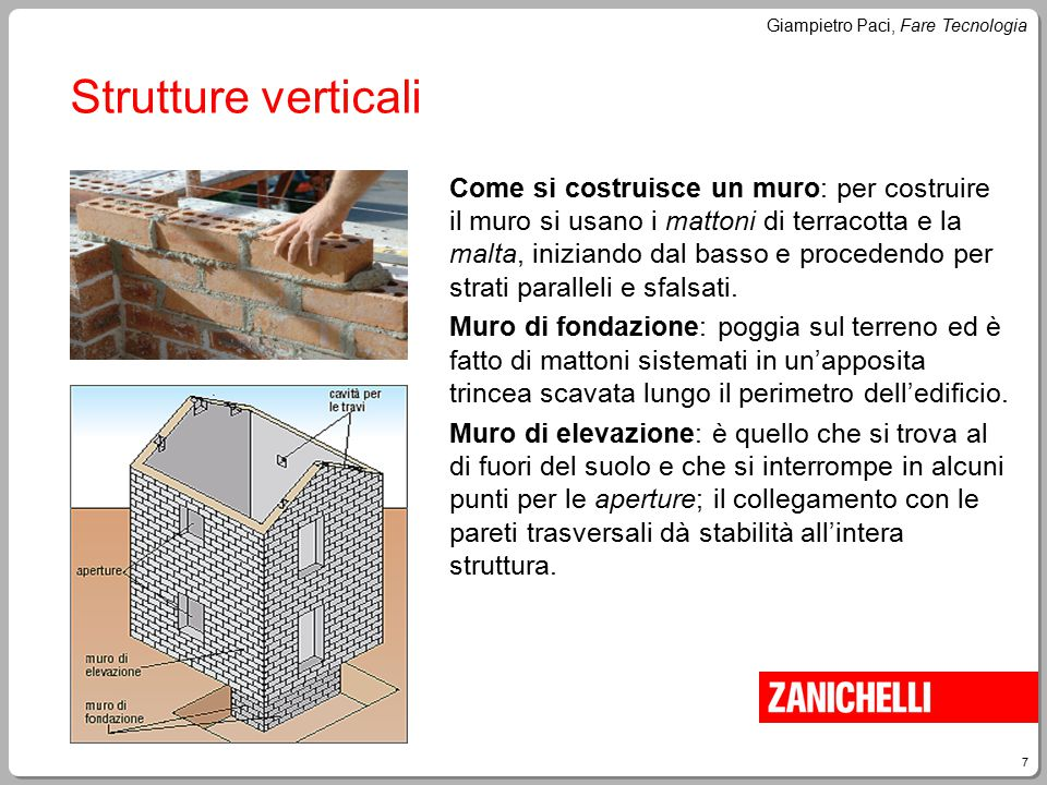 7 Giampietro Paci, Fare Tecnologia Strutture verticali Come si costruisce un muro: per costruire il muro si usano i mattoni di terracotta e la malta,