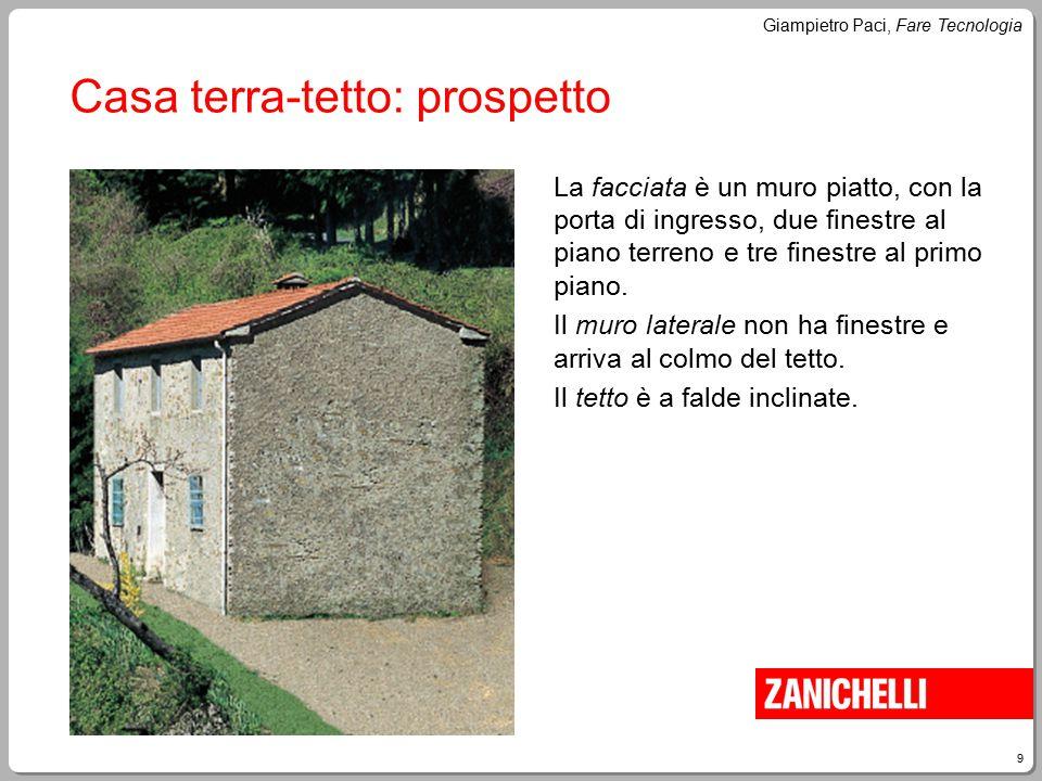9 Giampietro Paci, Fare Tecnologia Casa terra-tetto: prospetto La facciata è un muro piatto, con la porta di ingresso, due finestre al piano terreno e