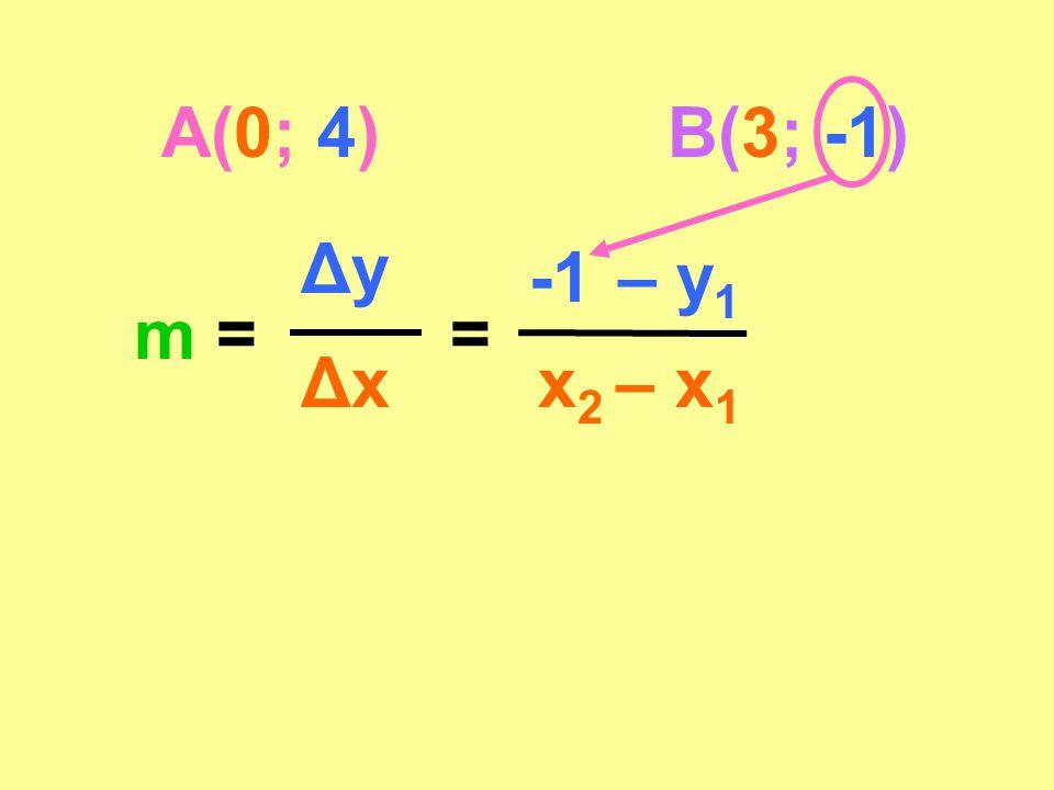 A(0; 4)B(3; -1) m = Δy Δx = -1 – y 1 x 2 – x 1