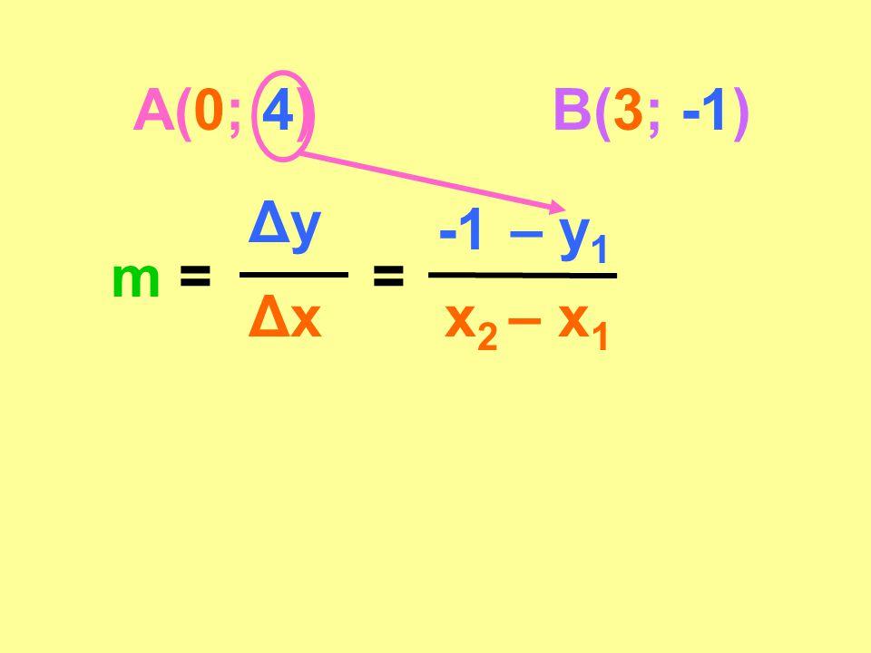 A(0; 4)B(3; -1) m = Δy Δx = -1 – 4 x 2 – x 1