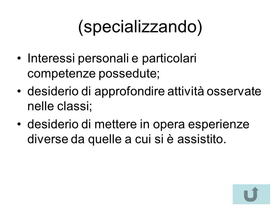 (specializzando) Interessi personali e particolari competenze possedute; desiderio di approfondire attività osservate nelle classi; desiderio di mette